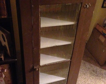 Vintage Amish Made Brown Cabinet Cupboard aprox 24x68x12 Shipping is NOT FREE!