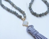 Reserved for Molly - Druzy Clover & Tassel Necklace with Labradorite and Grey Suede