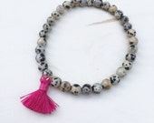 Beaded Silk Tassel Bracelet - Dalmatian Jasper and Pink