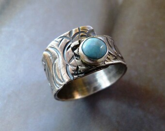 Larimar ring, light blue stone silver ring, handcrafted ring, metalwork statement ring, OOAK jewelry, rustic ring