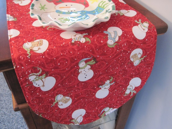 snowman table runner 36 inch reversible candy cane table. Black Bedroom Furniture Sets. Home Design Ideas