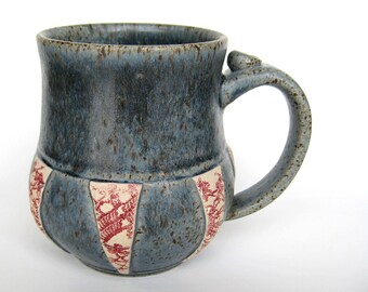 Blue mug with vintage crochet doily decoration, IN STOCK