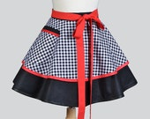 Womens Waist Aprons / Black and White Gingham with Red Accents Never out of Style in Cute Vintage Insired Retro Waist Half Apron