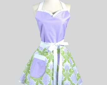 Sweetheart Retro Apron . Pastel Purple and Green Damask with Polka Dot Womens Cooking Apron Ideal to Personalize or Monogram as Wedding Gift