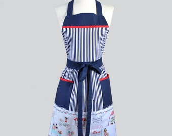 Classic Bib Apron / Vintage Market Border and Navy Stripes Kitchen Apron Ideal Gift for Her to Personalize or Monogram