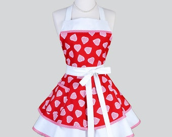 Ruffled Retro Apron / Red Gingham Hearts and Trims everywhere in Vintage Style Full Kitchen Apron Personalize or Monogram