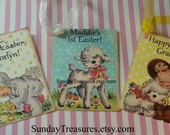 6 PAK Assorted Vintage Happy Easter Tags / Adorable Vintage Girl Lamb Bunny Rabbit / Favor Gift Basket Tag / PERSONALIZED / 1-2 Day Ship