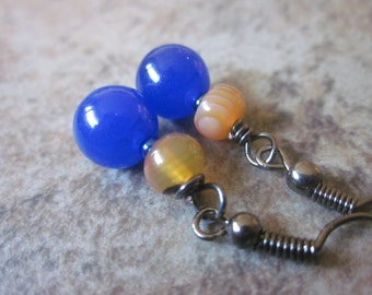 Mixed Gemstone Earrings, Navy Blue, Bright Orange, Black Gunmetal, Candy Jade, Natural Banded Agate, OOAK, Contrsting Colors, Canadian Shop
