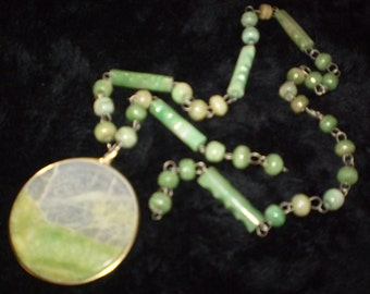 Jade colored glass bead Necklace.