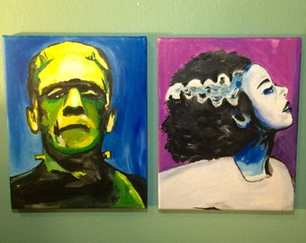 Frankenstein and The Bride 8 x 10 Acrylic Art Painting Set