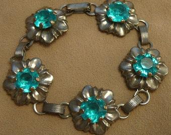 Aqua Rhinestone Flower Bracelet Vintage