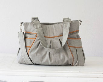 Cross body bag cotton grey and brown leather,crossover purse,shoulder bag,messenger,everyday bag with leather - Elessa bag