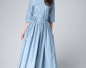 light blue dress, linen dress women, half sleeves dress, maxi linen dress, spring dress, drawstring waist, pleated dress 1495