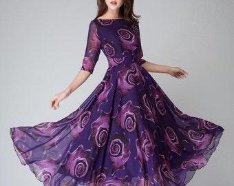 Purple Floral Dress, women dresses, maxi dress, half sleeve dress,Party dress, prom dress, print dress,Long chiffon dress, Custom dress 1529
