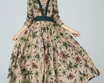 flower printed dress, linen dress, long sleeves dress, high waisted dress, retro dress, fall dress,plus size clothing 1580