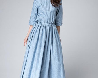 Half sleeves Dress,Light Blue Dress ,Maxi Linen Dress, Spring Dress,elegant Dress, Dress with pockets 1495