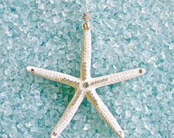 "Starfish Beach Ornament with Swarovski Crystals 5"" - Christmas Ornament/Christmas Beach Ornament"