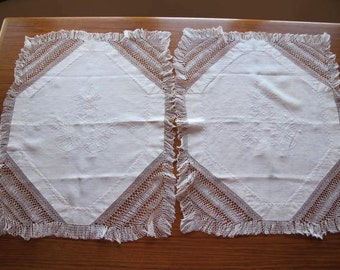 25% Off Pair Victorian c1890 Hand Embroidered Linen Lacy Pillow Shams Waterlilies Netted Lace