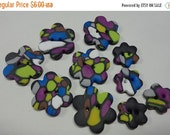 50% OFF - DARK BUBBLES - 10 Polymer Clay Buttons