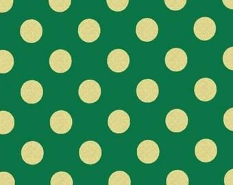 SALE - Michael Miller - Quarter Dot Pearlized in Spearmint / Gold