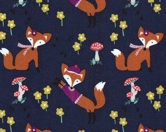 Michael Miller - Fox Woods Collection - Lil Foxy in Navy