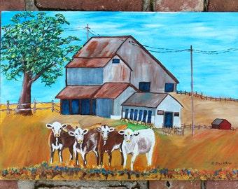 Four Petaluma Cows, By Mike - California - Barns - Original Acrylic Painting - Folk - Americana - Artwork - Wall Hanging - Rustic Home Decor