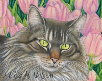 Maine Coon Cat in Pink Tulips Original Colored Pencil Art