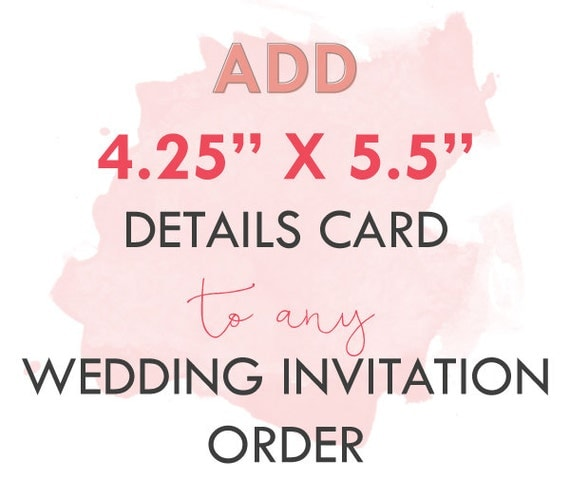 "Add-On 4.25"" x 5.5"" details card to any basic wedding package"