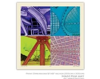 Milwaukee Art Museum Pop Art Art Print (MAM) by James Steeno