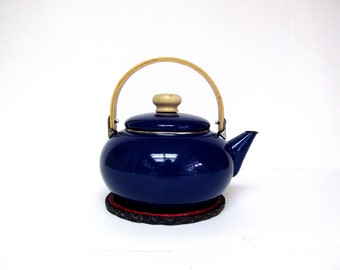 Vintage Cobalt Blue Enamel Tea Kettle with Wooden Swing Handle
