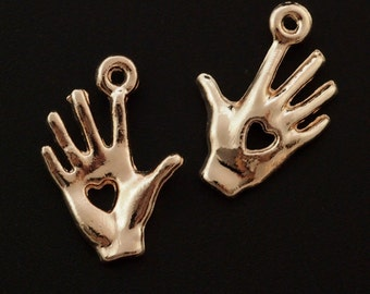 SALE 5 Rose Gold Plated Heart in Hand Charms - 19mm X 12mm - Matching Jump Rings Included - 100% Guarantee
