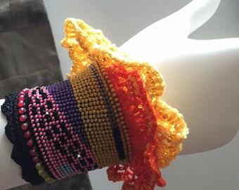 Modern Frills Cuff - beaded crochet, crochet cuff, crochet bracelet, lace bracelet