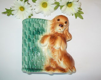 SALE - Vintage Vase, dog, spaniel, cocker spaniel, flower vase, utensil holder