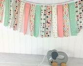 Fabric Garland, Strip Garland, Bunting Banner, Girl Nursery Decor, Nursery Decor - Coral Pink,Mint Green,Gold,Aztec Nursery,Tribal Nursery