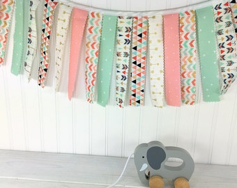 Garland,Rag Tie Garland,Bunting Banner,Girl Nursery Decor,Photography Prop,Home Decor - Coral Pink,Mint Green,Gold,Aztec Nursery,Tribal