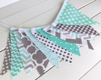 Bunting Fabric Banner,Fabric Flags,Nursery Decor,Birthday Decoration,Baby Shower,Home Decor,Mint Green,Grey,Gray,Chevron,Gingham,Houndstooth