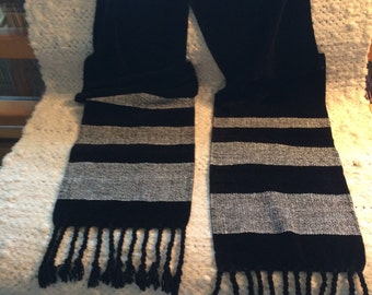 Black With White Stripes Chenille Scarf