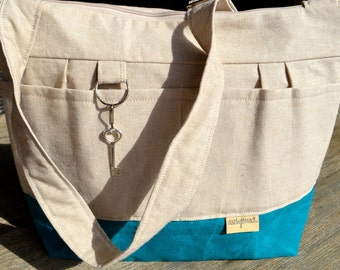 LInen Purse and Market Tote Natural Linen & turquoise blue Waxed canvas, Lightweight / durable by Darby Mack