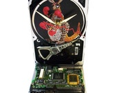 "FREE SHIPPING! Hard Drive Clock with Computer Parts ""Joey the Kangaroo"" Dial and Circuit Board Accented Base."