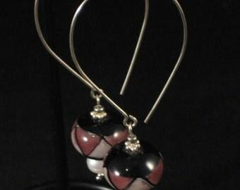 Lilac and Lavendar Ceramic Bead Hoop Earrings