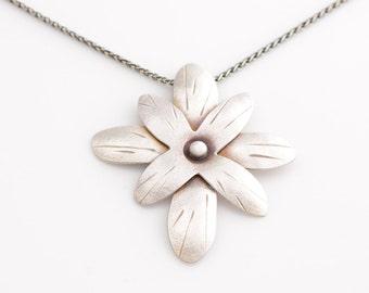 Flower Power Sterling Silver Adjustable Length Necklace