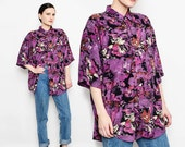 80s 90s Abstract Print Shirt 1980s Oversize Top Loose Short Sleeve Collared Button Front Blouse Purple Black S - L