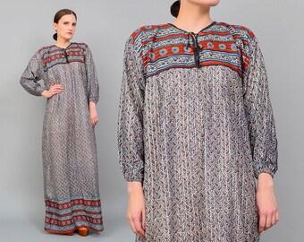 Vintage 70s Cotton Gauze Metallic Caftan Ethnic Paisley Boho Hippie Maxi Dress Medium Large M L