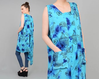 Vintage 90s Blue Tie Dye Tunic Top Ethnic Tribal Animals Novelty Print 1990s Oversize Tank Boho Grunge Sundress M L XL