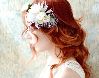 Bridal floral crown, wedding fascinator, bridal hair band, vintage headband, flower tiara, ivory floral headband, hair accessories
