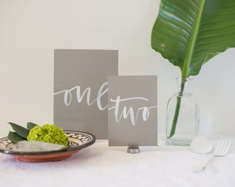 Grey and White Ink Hand Lettering Table Numbers | Calligraphy