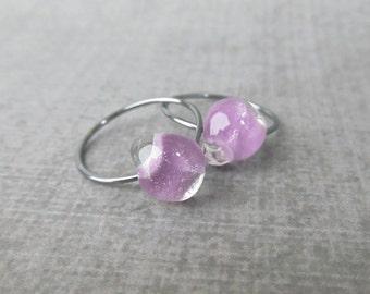 Lavender Hoops, Small Light Purple Hoop Earrings, Lavender Earrings, Lampwork Earrings Purple, Small Wire Hoops, Oxidized Sterling Silver