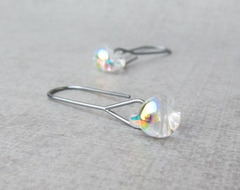 Dichroic Clear Modern Earrings, Dark Silver Minimalist Earrings Clear Glass, Lampwork Earrings, Clear Earrings, Oxidized Silver Earrings