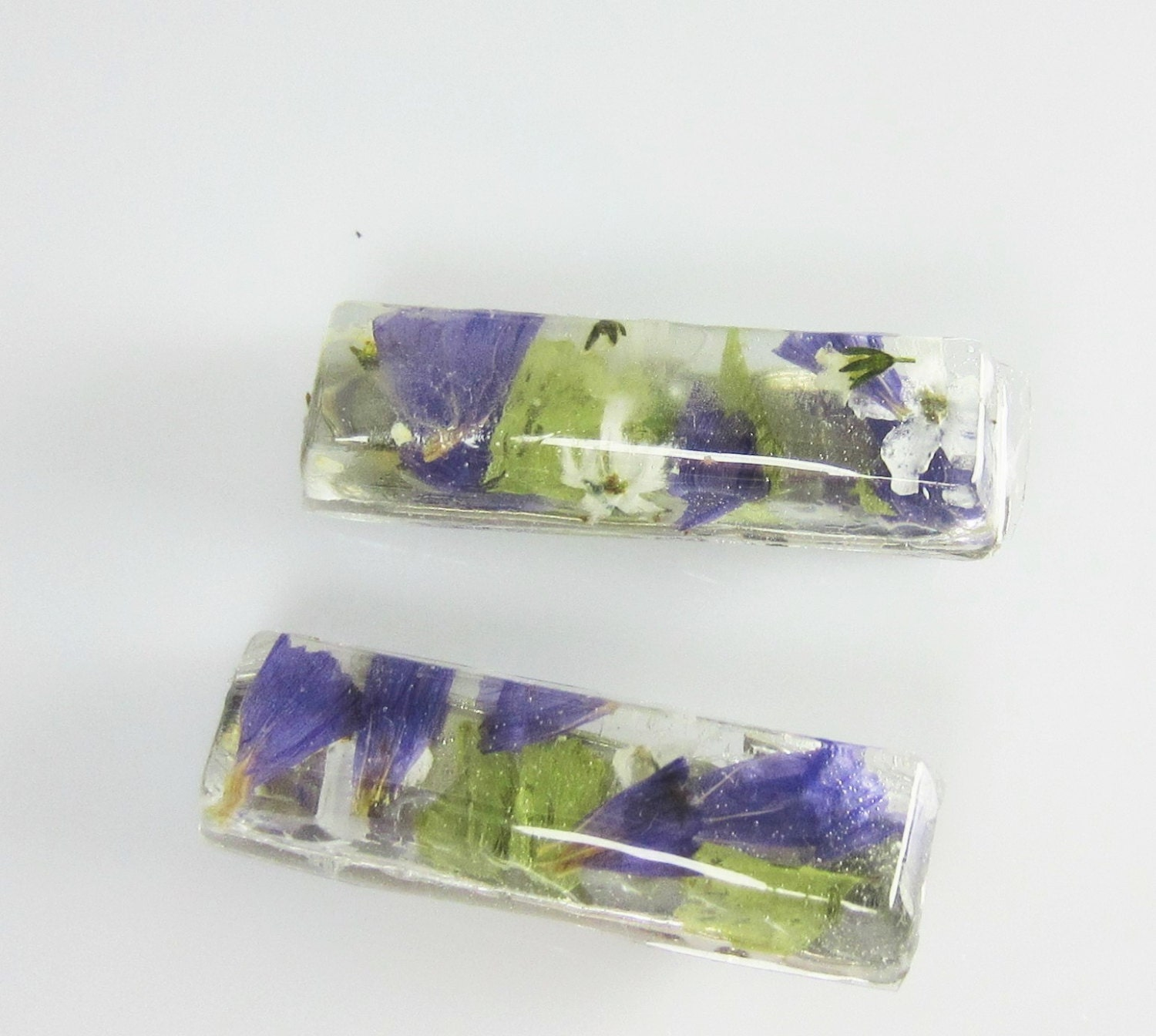 Small Real Flower Hair Clips 2 Alligator Clip Resin 1868