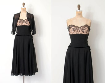 vintage 1950s dress / strapless chiffon and lace 50s dress / little black dress / Unfinished Business